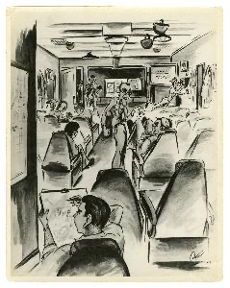 Black and white cartoon image of a man seated in a chair drawing in the foreground, rows of chairs with men talking while seated or standing extend into the background.
