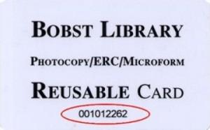 Figure 2: Sample Bobst Library Reusable Card