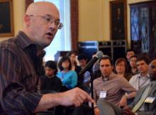 unMeeting keynote speaker Clay Shriky. Photo by Jeff Barry