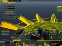 This Betaville screenshot shows the 3D rendition of Liberty Piers, an ambitious proposal for the future of Battery Park. Using the window at the bottom of the screen, users can see the various versions of and modifications to the proposal.