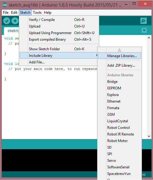 """Location of """"Manage Libraries"""" menu option in Arduino IDE."""