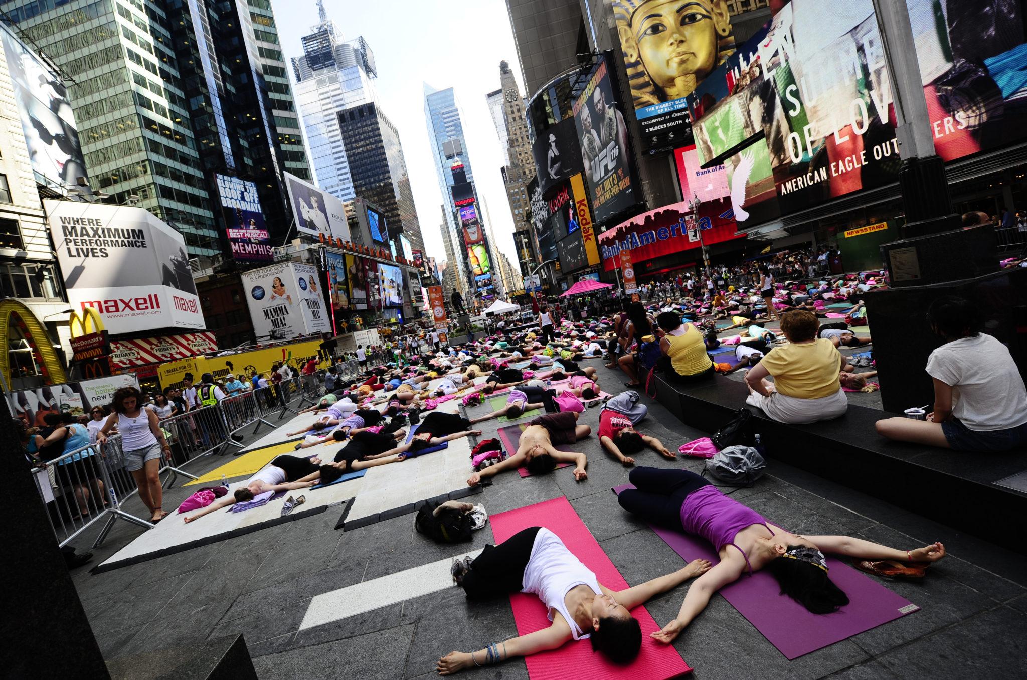 Participants take part in a mass yoga se