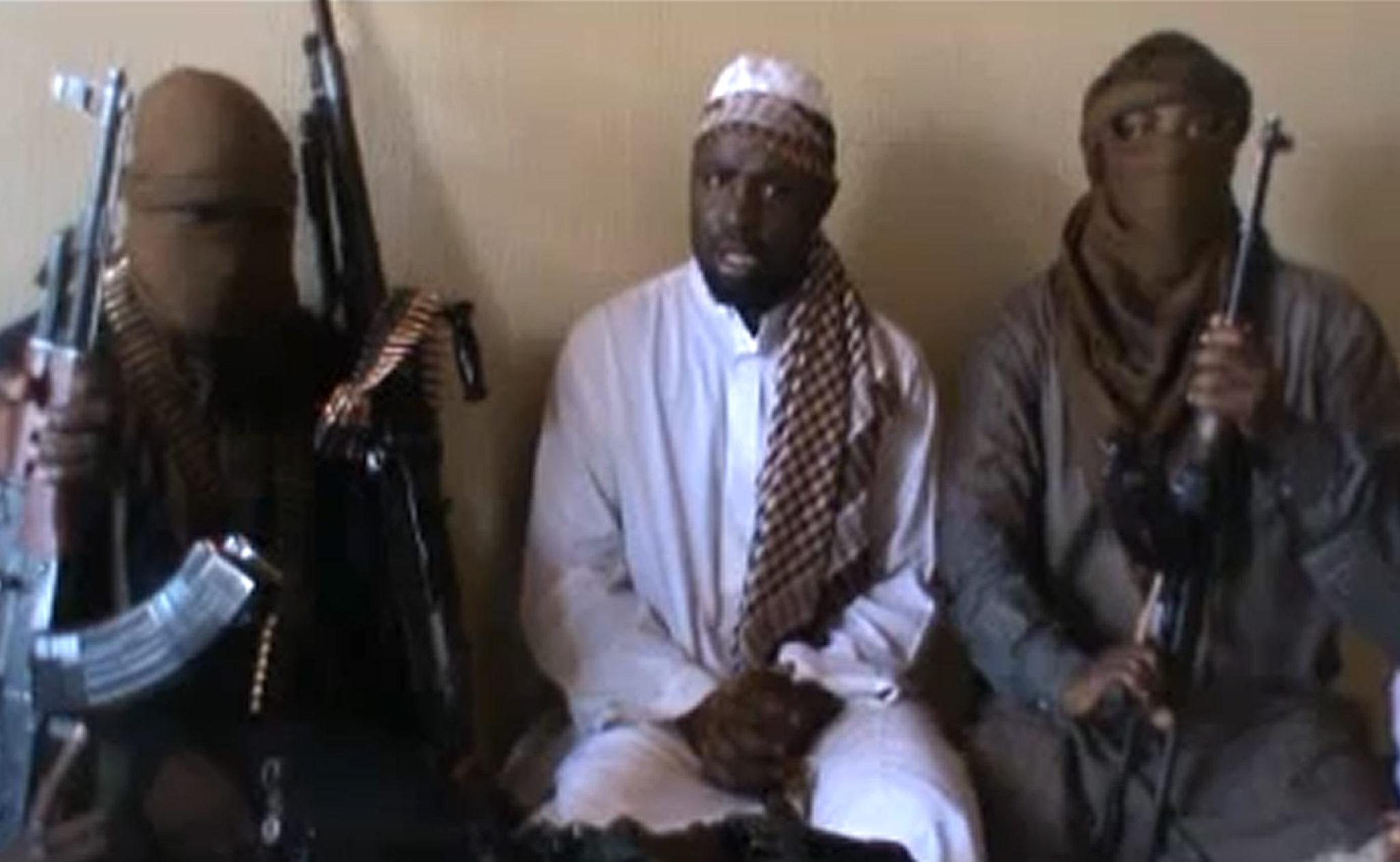 Abubakar Muhammad Shekau and Boko Haram. Image via AFP.