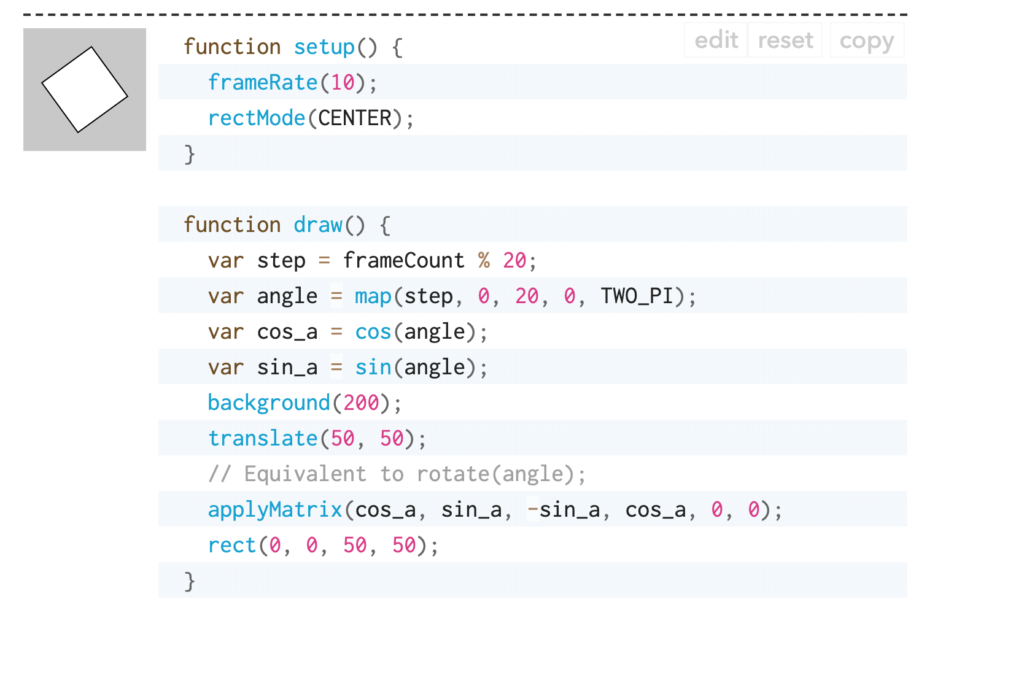 a screenshot of code to rotate an object by its center on p5.js reference page