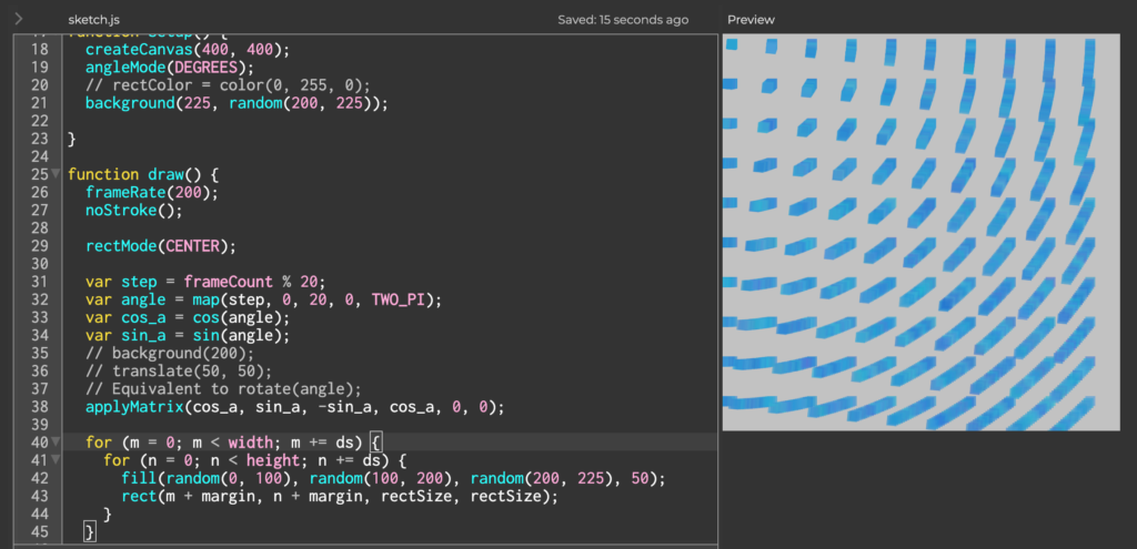 A screenshot of p5.js that shows the rotation of rows and columns of small cubes.