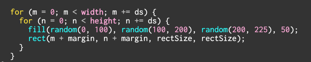 screenshot of coding on p5.js about randomizing the color to have opaque blue color.