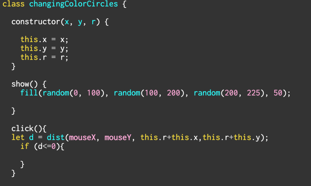 screenshot of code in p5.js. I am trying to create class and create some objects within the class.