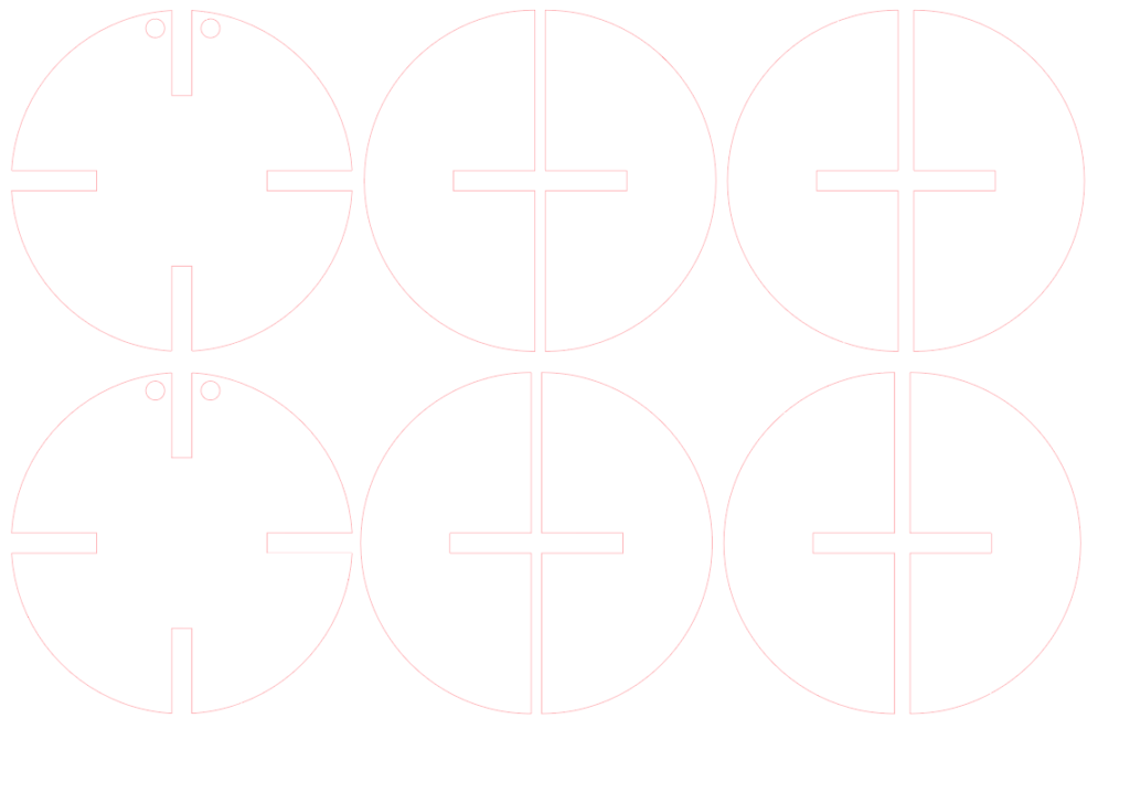 outline of the circle design with slots