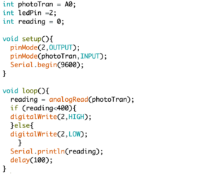 screenshot of codes about using phototransistor to control led light