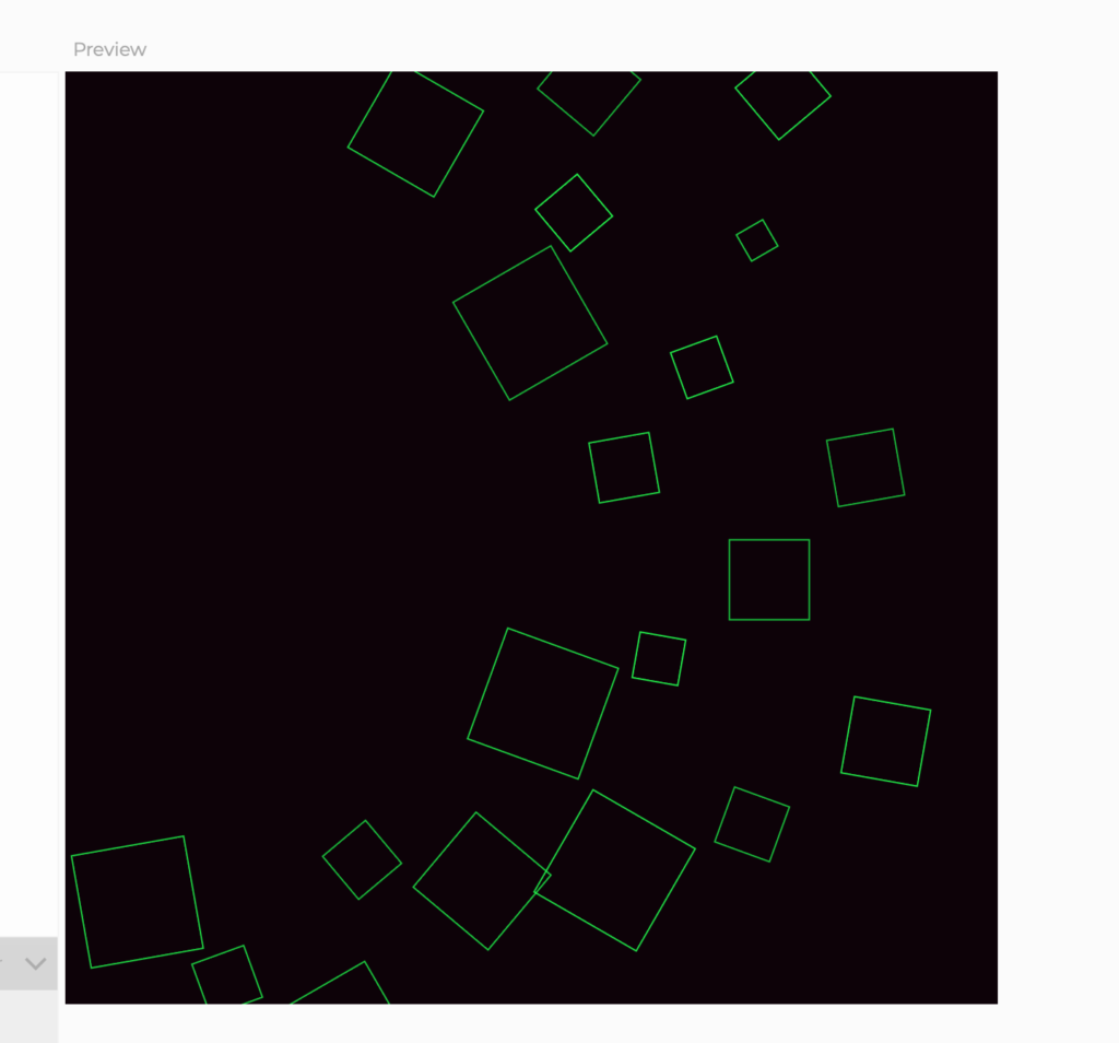 green outlined blocks on top of black background