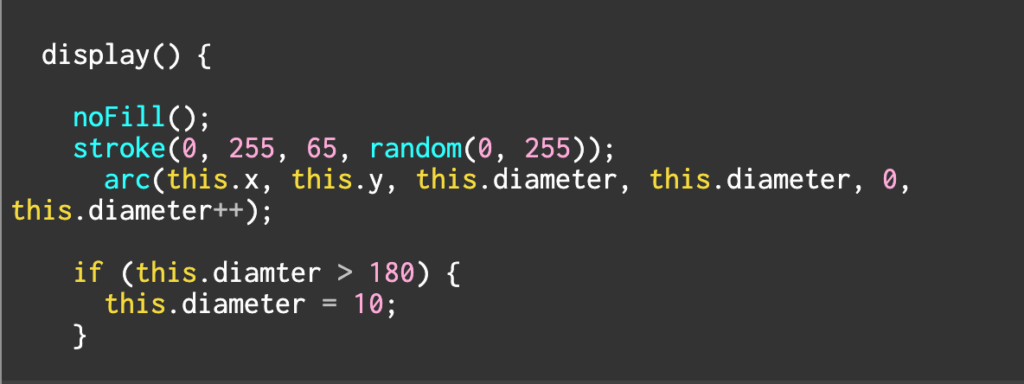 screenshot of code from p5.js along with the preview